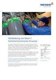 Sichere Handhabung von Gasen - Messer Industriegase GmbH