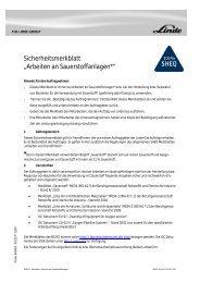 """Sicherheitsmerkblatt """"Arbeiten an Sauerstoffanlagen*"""" - Linde Gas"""