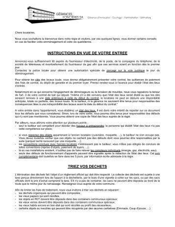 Recommandations - GERANCES FONCIERES SA