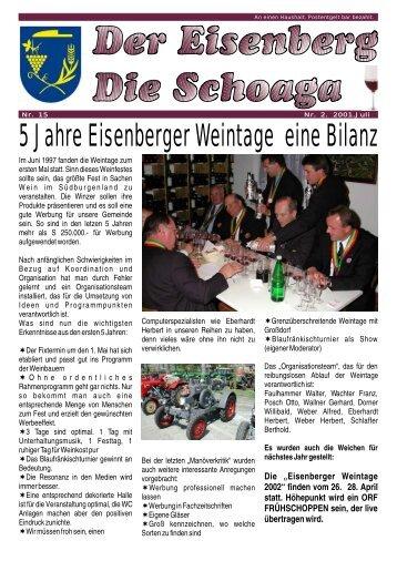 5 Jahre Eisenberger Weintage eine Bilanz - Gemeinde Deutsch ...