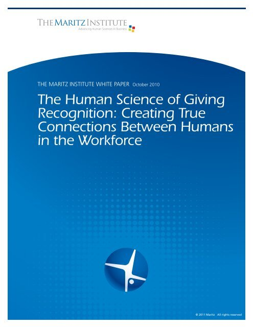 The Human Science of Giving Recognition ... - Maritz Institute