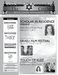 Scholar In reSIdence ISraelI fIlm feStIval touch of klez - Beth Jacob ...