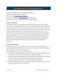 551 Information Seeking Behavior - School of Information, University ...