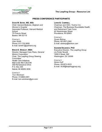 Resource List PRESS CONFERENCE PARTICIPANTS