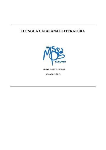 LLENGUA CATALANA I LITERATURA - IES Mossèn Alcover