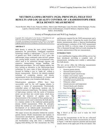 Neutron-Gamma Density (NGD): Principles, Field ... - Schlumberger