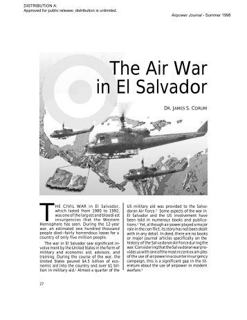 The Air War in El Salvador - Air and Space Power Journal