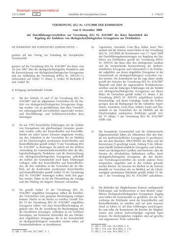Verordnung (EG) Nr. 1235/2008 vom 8. Dezember - LACON Institut