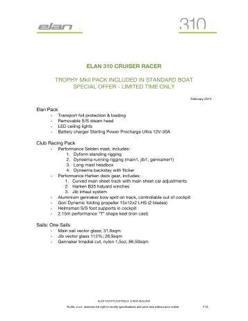 ELAN 310 CRUISER RACER TROPHY MkII PACK ... - Elan Yachts