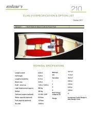 Elan 210 Specification & Option List Oct 11 - Elan Yachts