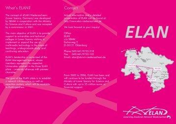 What's ELAN? Contact - ELAN-Niedersachsen