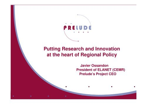 Putting Research and Innovation at the heart of Regional Policy