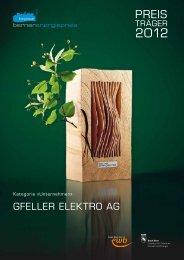 Preisträgerbroschüre Gfeller Elektro AG - Energie Wasser Bern