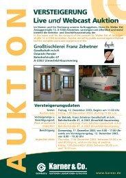 VERSTEIGERUNG Live und Webcast Auktion
