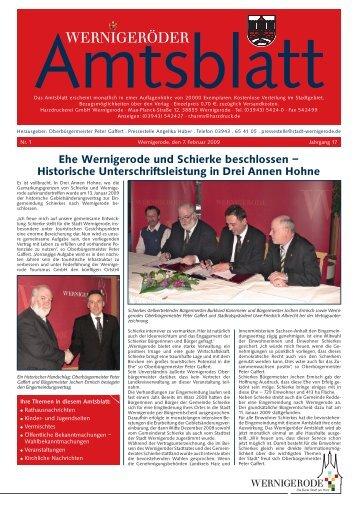 Ehe Wernigerode und Schierke beschlossen – Historische ...