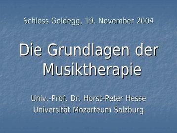 Die Grundlagen der Musiktherapie - Prof. Dr. Horst-Peter Hesse