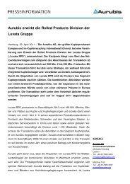 Aurubis erwirbt die Rolled Products Division der ... - Aurubis Stolberg