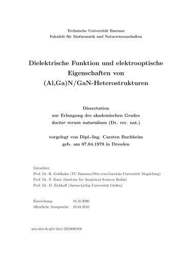 Dielektrische Funktion und elektrooptische Eigenschaften von (Al ...