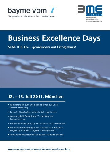 Einladung zu den Business Excellence Days 2011