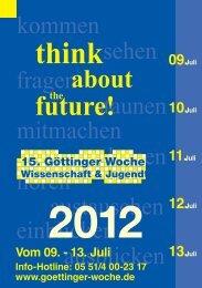 komplettes Programm - Göttinger Woche - Wissenschaft & Jugend