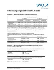 Netznutzungsentgelte Strom ab 01.01.2010 - SVO Energie GmbH