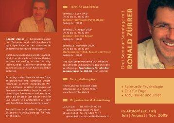in Altdorf (Kt. Uri) Juli   August   Nov. 2009 - Gesundheits- und ...