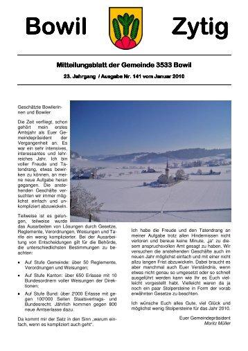 Bowil-Zytig Nr. 141 vom Januar 2010