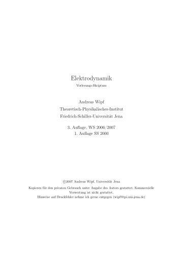 Elektrodynamik - Friedrich-Schiller-Universität Jena