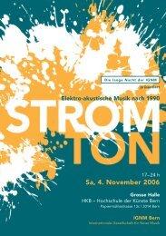 Sa, 4. November 2006 - Hochschule der Künste Bern