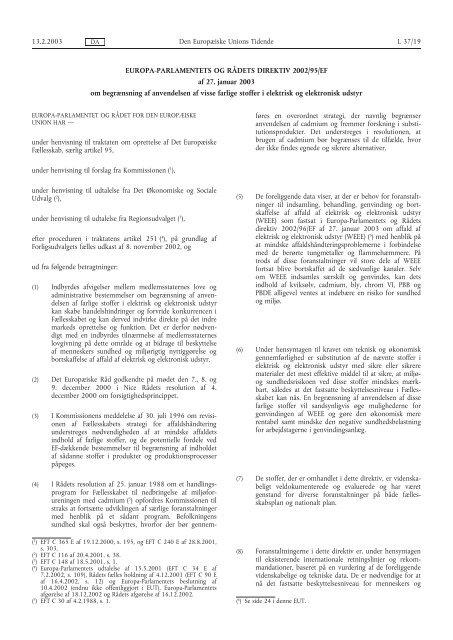 Europa-Parlamentets og Rådets direktiv 2002/95/EF - EUR-Lex ...