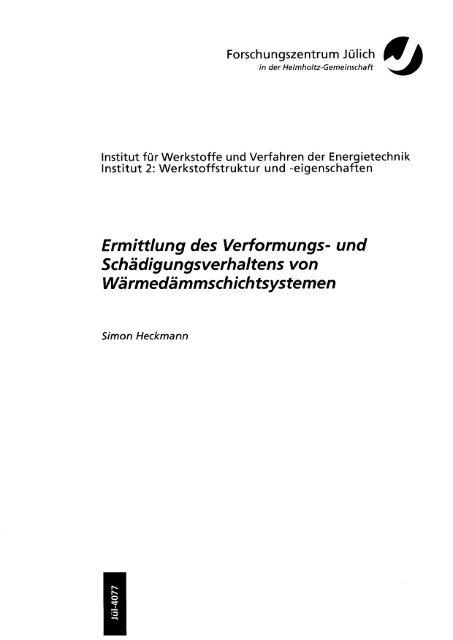Ermittlung des Verformungs - JuSER - Forschungszentrum Jülich