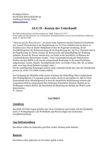 ALG II - Kosten der Unterkunft
