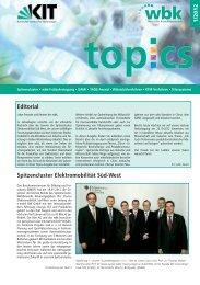 Editorial Spitzencluster Elektromobilität Süd-West - wbk - KIT