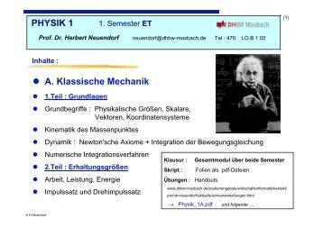 PHYSIK 1 A. Klassische Mechanik - DHBW Mosbach