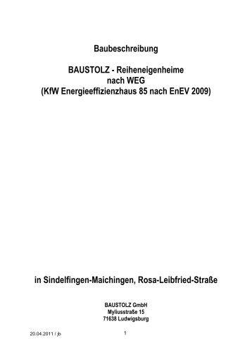 Baubeschreibung BAUSTOLZ - Reiheneigenheime nach WEG (KfW ...
