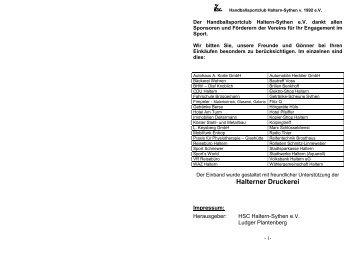 Halterner Druckerei - HSC Haltern-Sythen 1992 eV