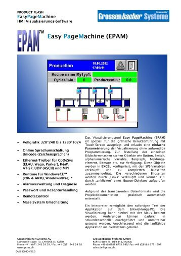 Easy PageMachine (EPAM) - Grossenbacher Systeme AG