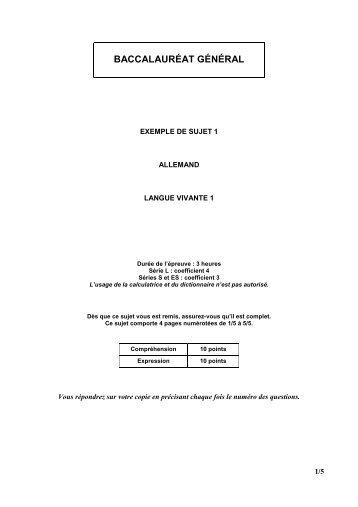 Allemand LV1 séries ES, S et L - exemple de sujet 1