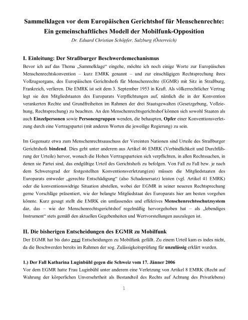 Sammelklagen vor dem Europäischen Gerichtshof für ...