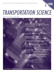 The publication of the Transportation Science & Logistics Society of ...