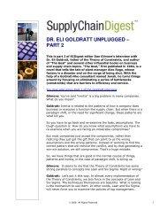 DR. ELI GOLDRATT UNPLUGGED – PART 2 - Supply Chain Digest