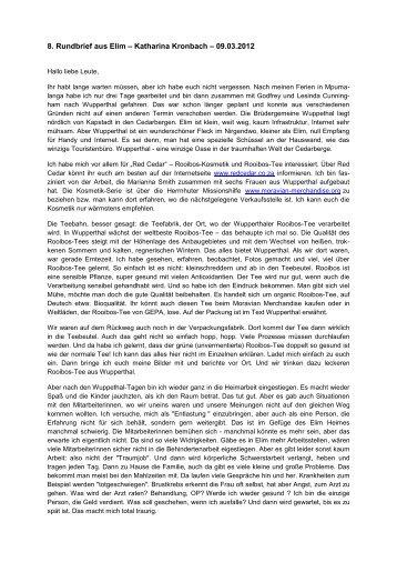 8. Rundbrief aus Elim – Katharina Kronbach – 09.03.2012