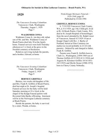 Obituaries for burials in Elim Lutheran Cemetery ... - RootsWeb