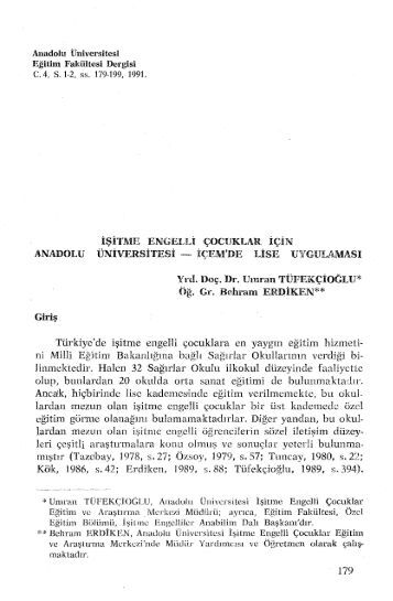 Makale metni (PDF) - Anadolu Üniversitesi Kütüphanesi