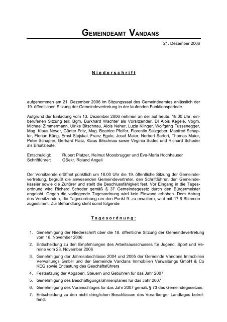 2. gemeindevertretungssitzung vom - Vandans