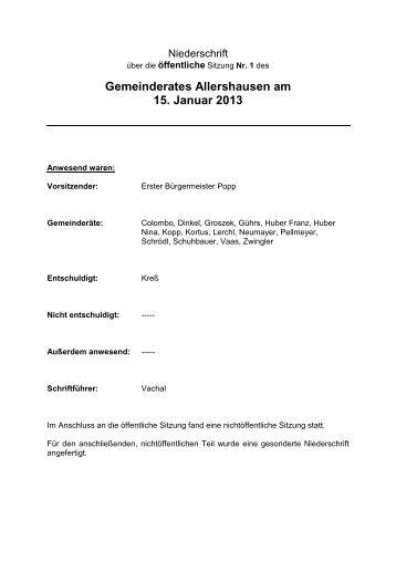 1. Öffentliche Sitzung des Gemeinderates Allershausen vom 15.01