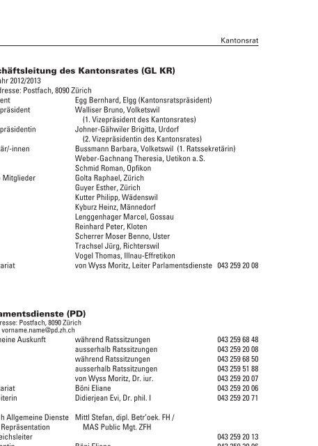 Kantonsrat, Ombudsperson, Finanzkontrolle ... - Kanton Zürich