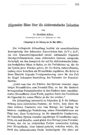 Allgemeine Sätze über die elektrostatische Induction