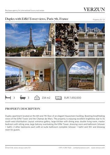 Duplex with Eiffel Tower views - Verzun.com