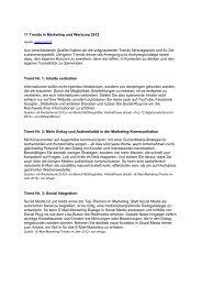 11 Trends in Marketing und Werbung 2012 Aus verschiedenen - GfM